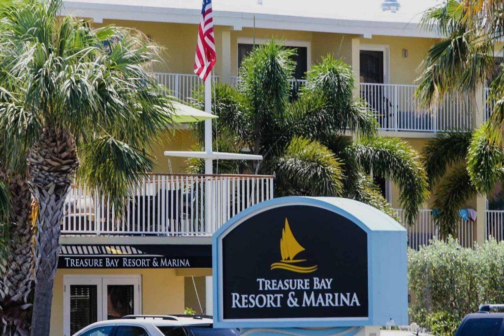 Treasure Bay Resort and Marina sign