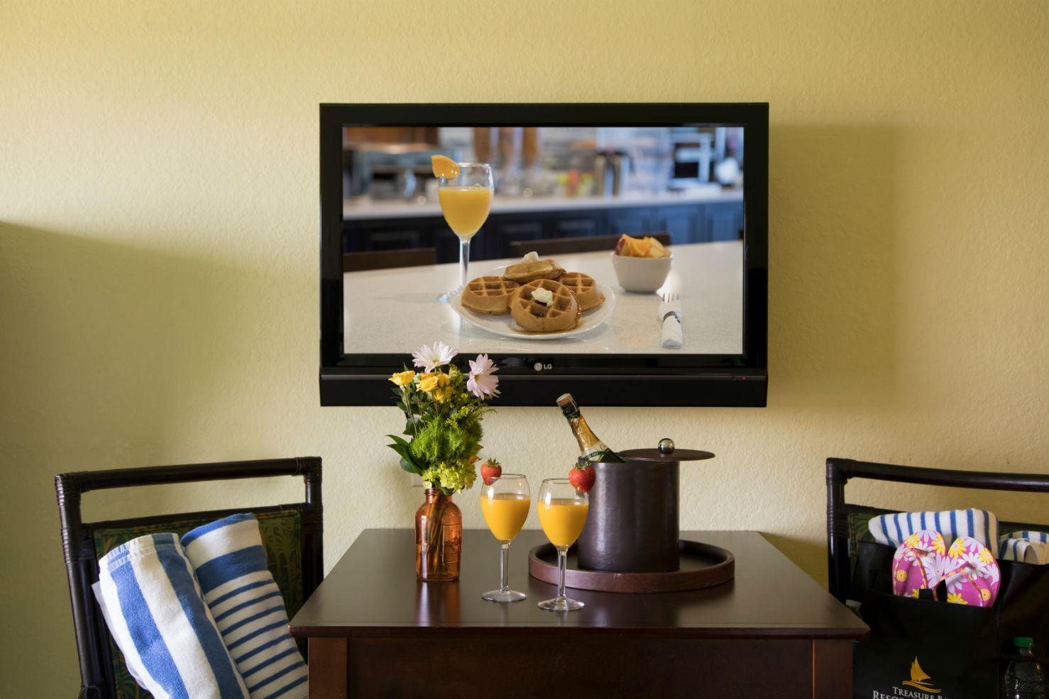 Breakfast table in hotel room